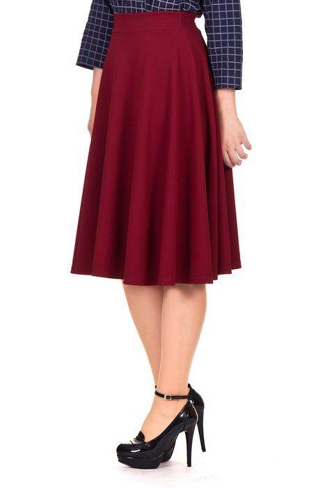 89b25d59d Dani's Choice Feminine Stretch High Waist Flared Circle Skater Midi Skirt  (XL, Wine)