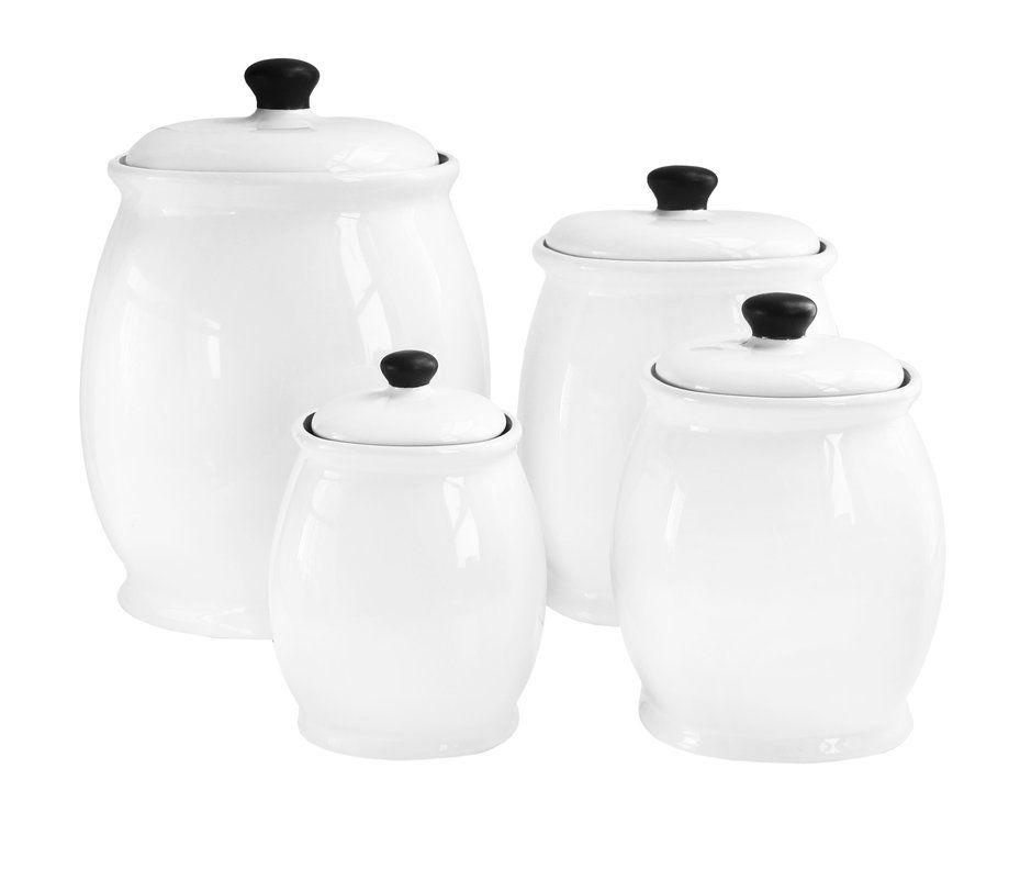 Wayfair Basics 4 Piece Storage Jar Set Ceramic Canister Set