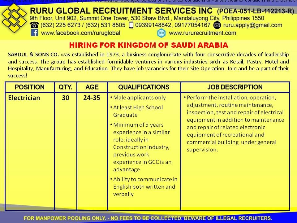 Immediate Needs for Skilled Workers for Saudi Arabia Hiring - project engineer job description