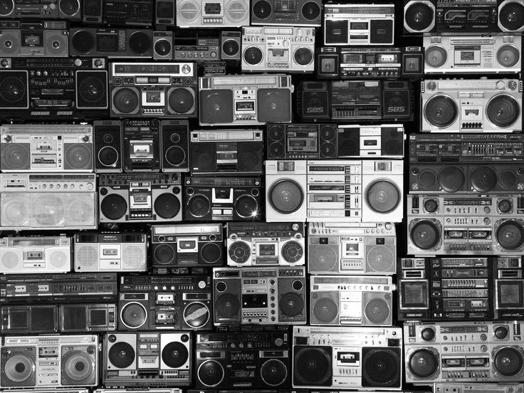 Wall Of Boomboxes That Are All Tuned To The Same Radio Station We Transmit Our Own Music To That Station Boombox Wall Of Sound Radio