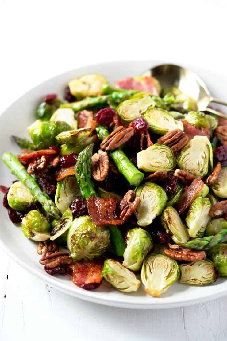 Roasted Brussels Sprouts Amp Asparagus With Maple Bacon