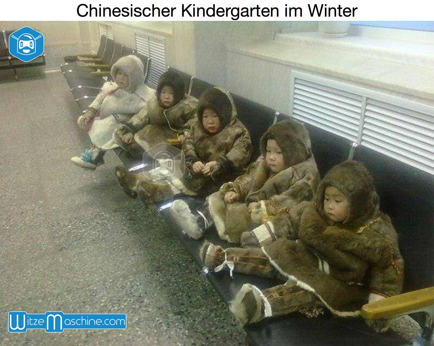 Chinesische Kindergarten im Winter - Chinesen Witze