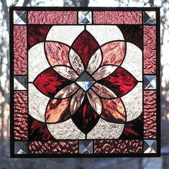 Stained Glass Starburst Beveled Panel Shades of by LivingGlassArt, $75.00