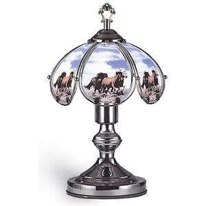 Ok Lighting 14 25 Quot Black Chrome Touch Lamp With Horse Theme Touch Lamp Touch Table Lamps