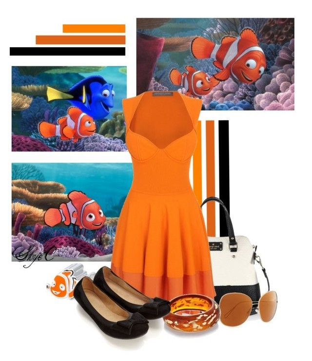 """Marlin and Nemo - Disney Pixar's Finding Nemo"" by rubytyra ❤ liked on Polyvore featuring Kate Spade, Alexander McQueen, Oliver Peoples, Kenneth Jay Lane, Accessorize, women's clothing, women, female, woman and misses"