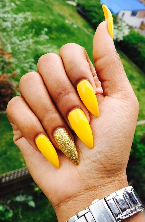 Whether you like long or short nails, acrylic or gel nails, french or  coffin nails, matte or glitter nails, you can always find in here with  yellow colors. - 61 Trendy Yellow Nail Designs 2019 Nail Art Designs Nails