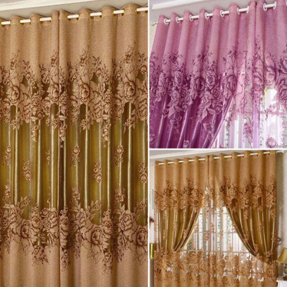 Printed Curtains Living Room Details About Peony Pattern Voile Curtains Living Room Window