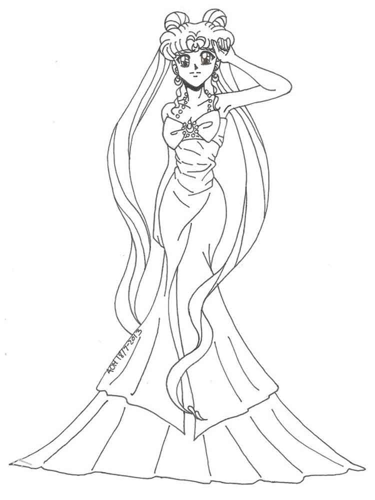 Free Printable Princess Serenity Coloring Pages For Kids In 2021 Sailor Moon Coloring Pages Sailor Moon Fan Art Coloring Pages