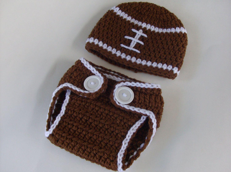 Crochet Football Hat Diaper Cover set \