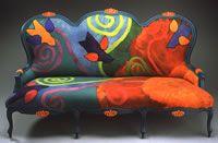Felted fiber/wool art chair by Nicole Chazaud Telaar of FestiveFibers.com and ETSY.