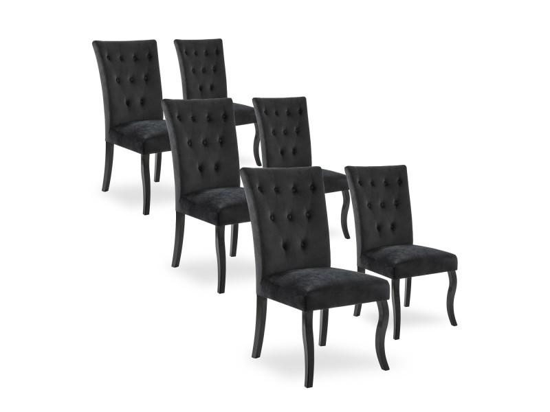 Lot De 6 Chaises Capitonnees Chaza Velours Noir Vente De Chaise Conforama En 2020 Chaise Capitonnee Chaise Confortable Chaise Simili Cuir