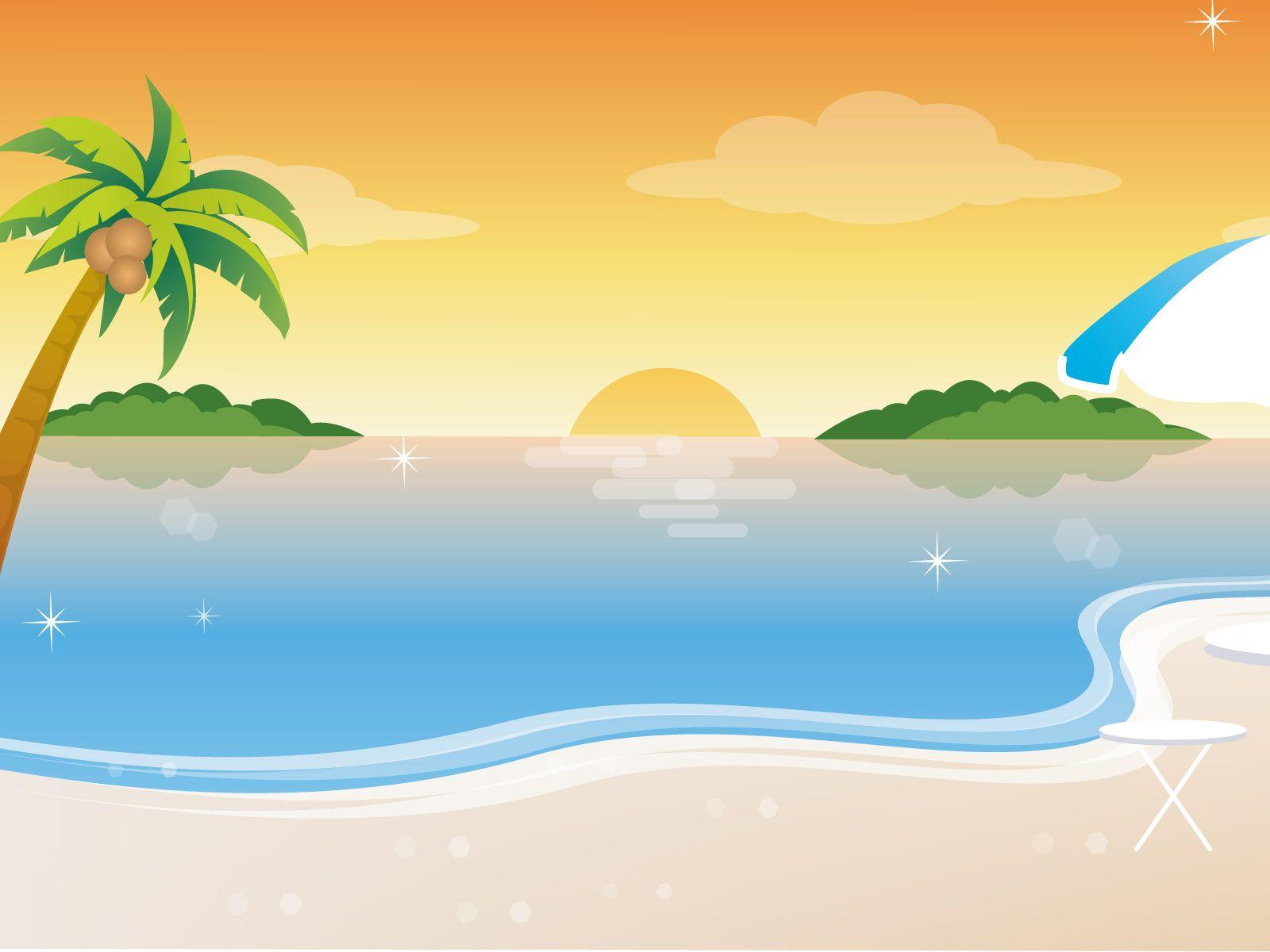 Summer Art Wallpaper Hd Beach Cartoon Summer Wallpaper Cartoon Background
