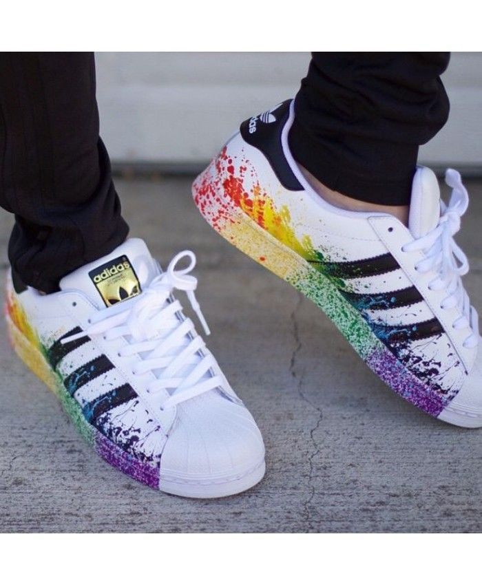 Adidas Superstar Rainbow Paint Black White Shoes  e453a41c6f50