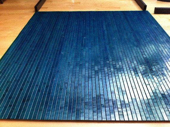 Tahoe Blue Bamboo Chair Mat Office Floor Mat Hard Wood Floor
