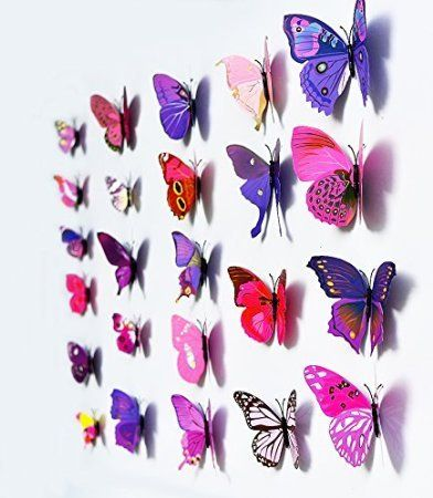 Amaonm 120pcs 10 Packages Removable 3d Butterfly Purple Stickers