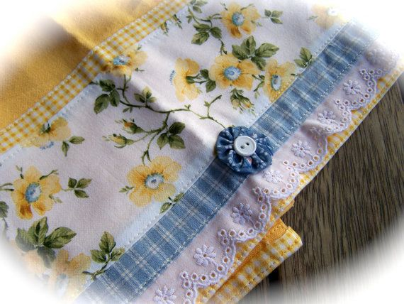 Yellow White And Blue Theme Tea Towel With Roses Lace And Yo Yo