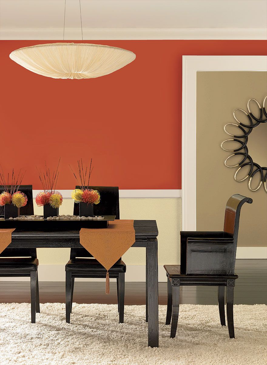 Radiant Orange Dining Room Upper Wall Color Fireball Orange