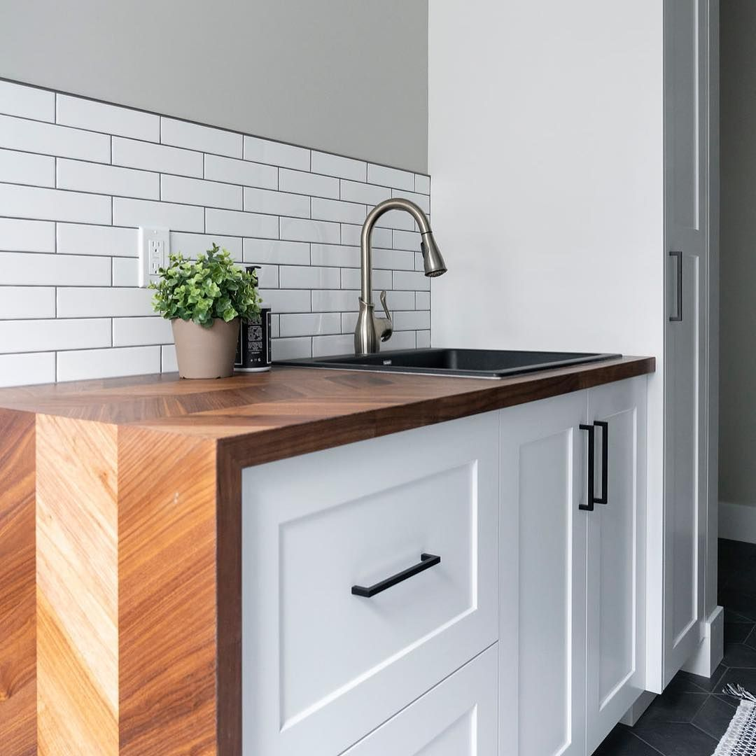 "THIS countertop! Perfect for mountain modern condo! MARVEL CABINETRY on Instagram: ""Ever seen an @ikeacanada butcher block top look this amazing? Great value for the product and this mitered waterfall is a perfect…"" #waterfallcountertop"