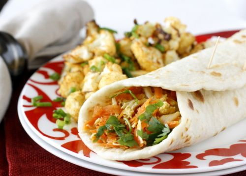 quick and easy indian chicken wraps.