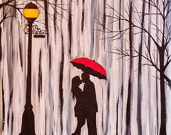 how to draw a couple in the rain