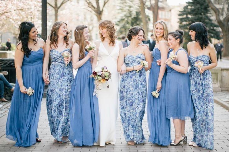 Floral Blue Bridesmaid Dresses