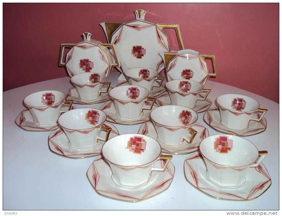 service a the ancien art deco rose porcelaine tea time pinterest deco rose service et art. Black Bedroom Furniture Sets. Home Design Ideas