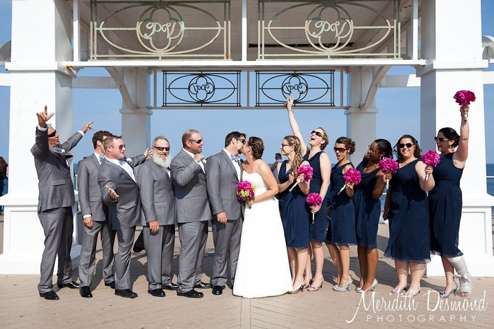 wedding navy dresses gray suit pink flowers Google