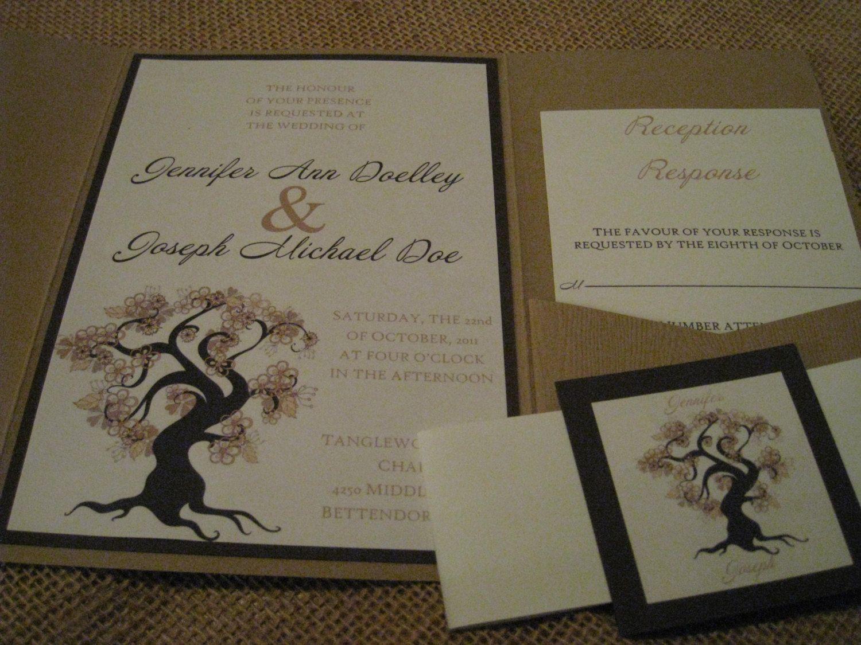 Autumn Wedding Invitation With Two Inserts And Woodgrain Pocketfold