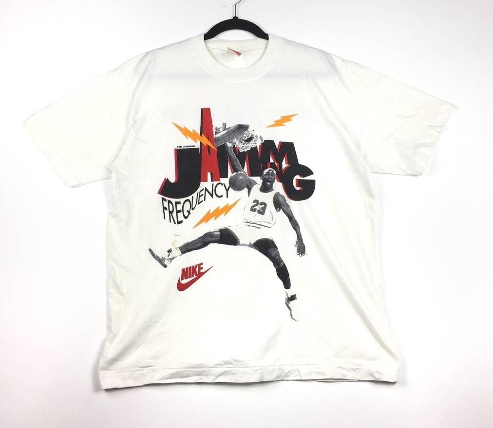 ce030b14bc4e Nike Vintage!! NIKE AIR JORDAN Jamming Frequency Big Logo Nike Air Jordan  Basketball Player Vintage Nike Air Jordan White Tees Size Large Size US L    EU ...