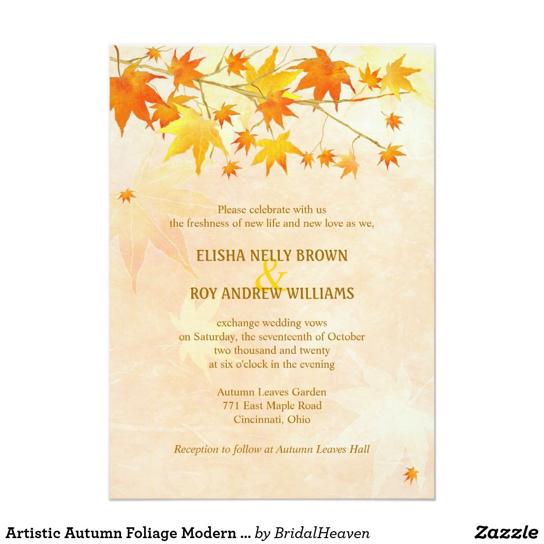 Artistic Autumn Foliage Modern Wedding Card Beautiful Maple Leaves Silhouettes In Fall Colors With A Rustic Textured Background Salmon Color Designed: Rustic Wedding Invitations Fall Colors At Reisefeber.org