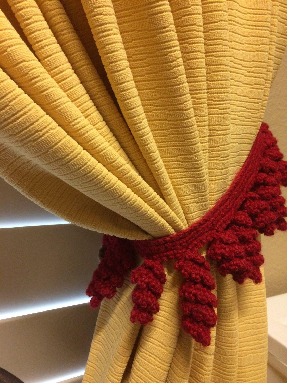 Crochet Curtain Tieback - Red Tassel / 1 pair by JinesCrafts on Etsy ...