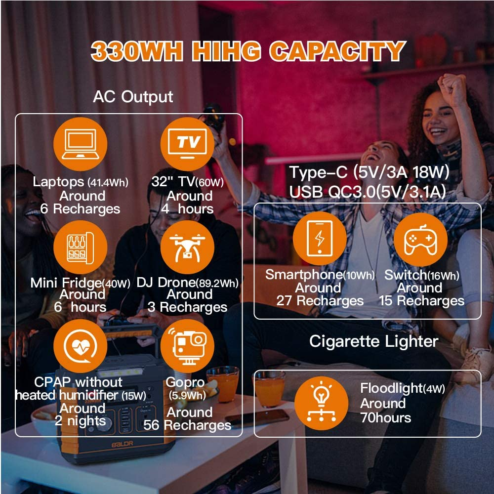 Amazon Com Baldr Portable Power Station 330w 2019 Updated Portable Solar Generators For Home Use Cpap In 2020 Portable Solar Generator Portable Power Battery Backup