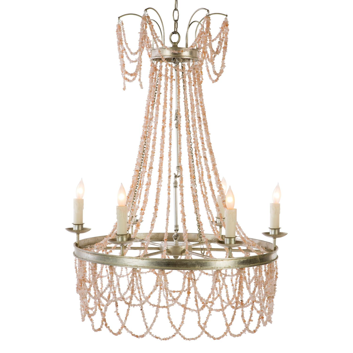 A Dramatic Addition To Foyers And Grand Living Spaces The Aidan Gray Amber Beaded Chandelier Offers A Luxe Chandelier Pink Chandelier Pink Crystal Chandelier