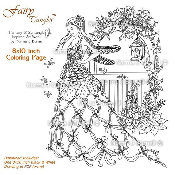 Fairy and Owl Printable Coloring book Sheets by Norma J Burnell