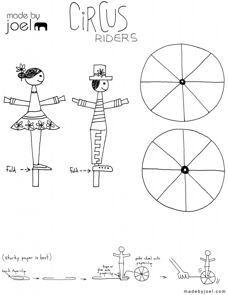 made by joel circus riders kids craft template - Printable Preschool Crafts