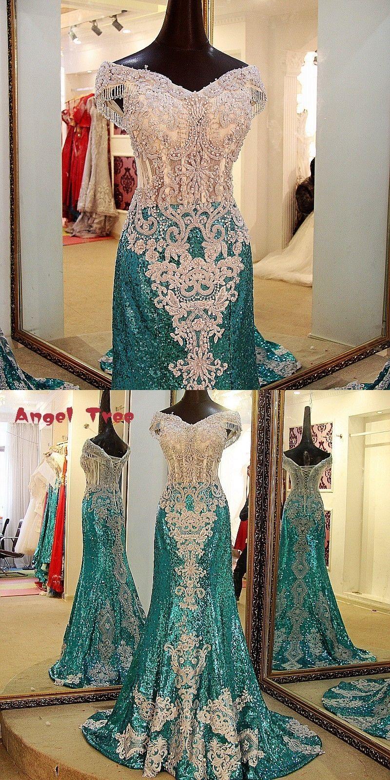 new full pearls party dresses shiny sweetheart green mermaid