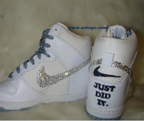 7d573f0bdf80c Wedding Custom Bling Rhinestone White Nike Dunk - Eshays