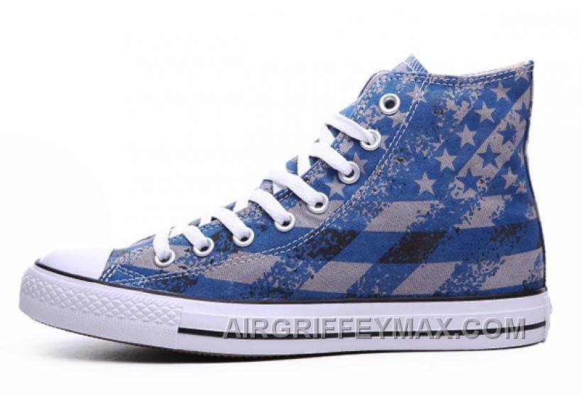 6eb4bec6ea7d Discount Unisex Blue CONVERSE Chuck Taylor American Flag Print All ...