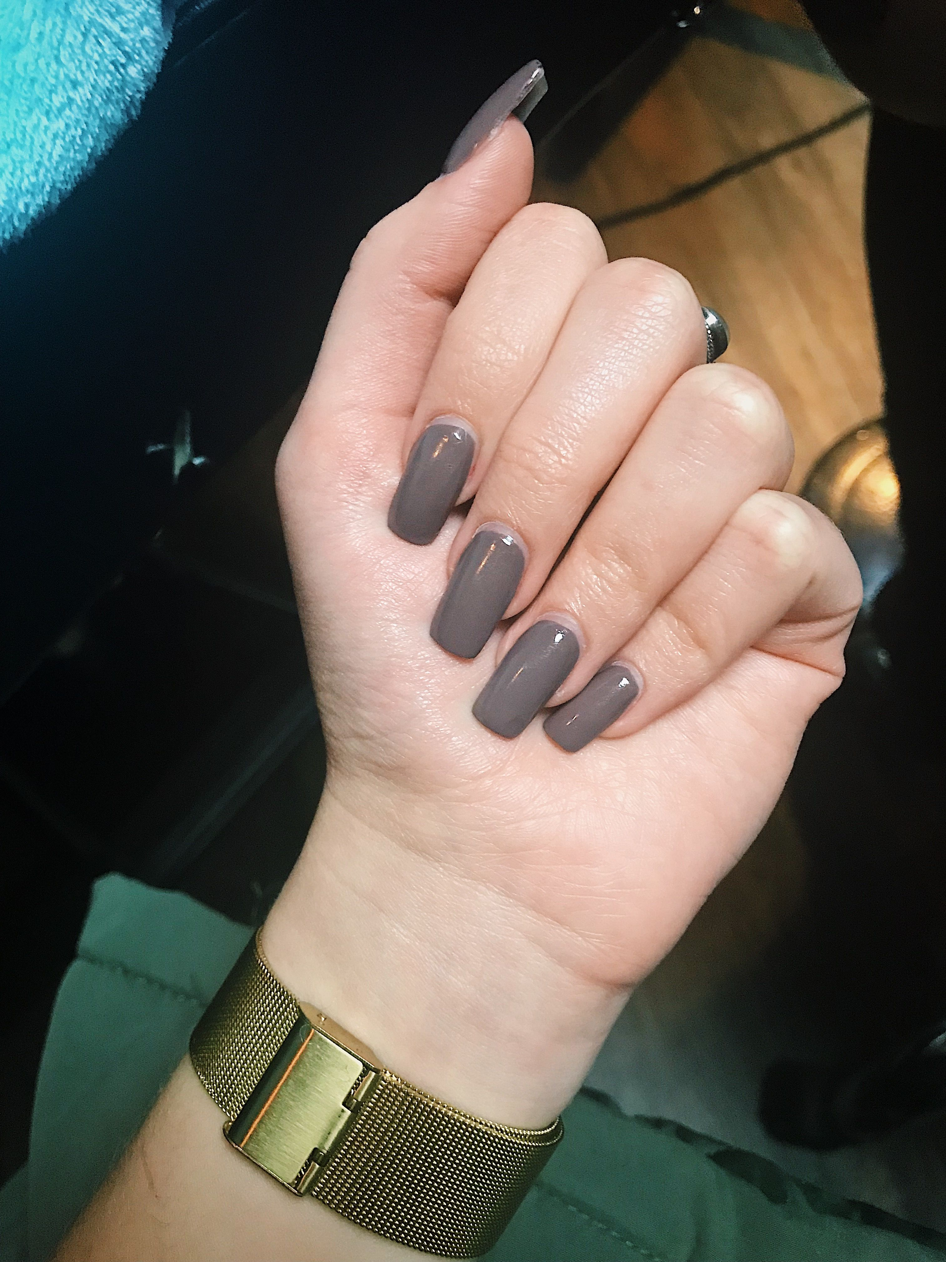 Grey Brown Squoval Acrylic Square Acrylic Nails Squoval Nails Grey Acrylic Nails