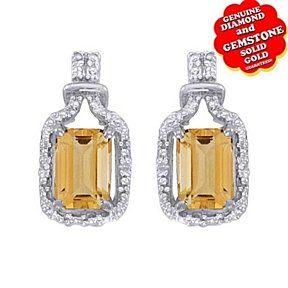 Fine Jewelry Genuine Yellow Citrine Diamond-Accent 14K White Gold Earrings R4RnwbyYrm