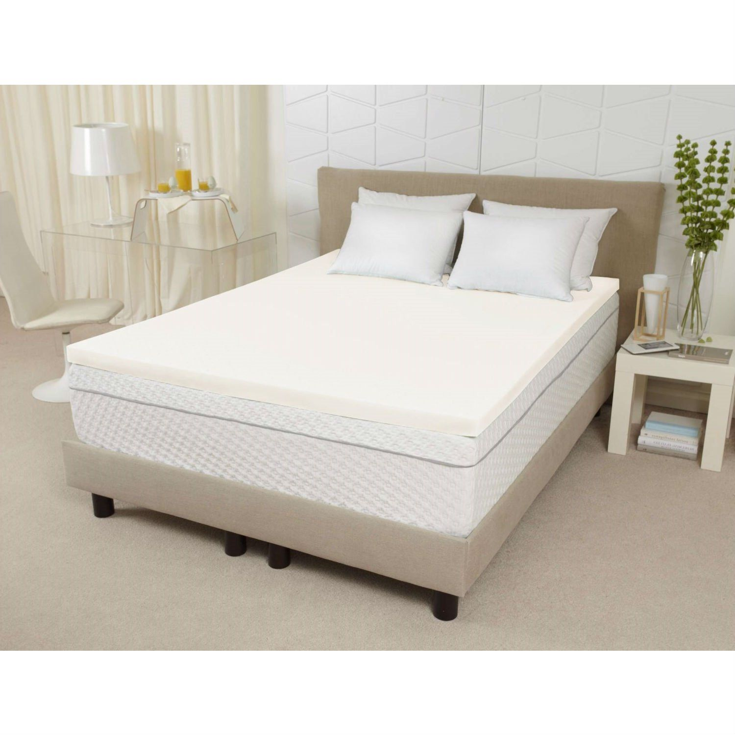 protector fill quilted double size triple itm king single topper bed mattress