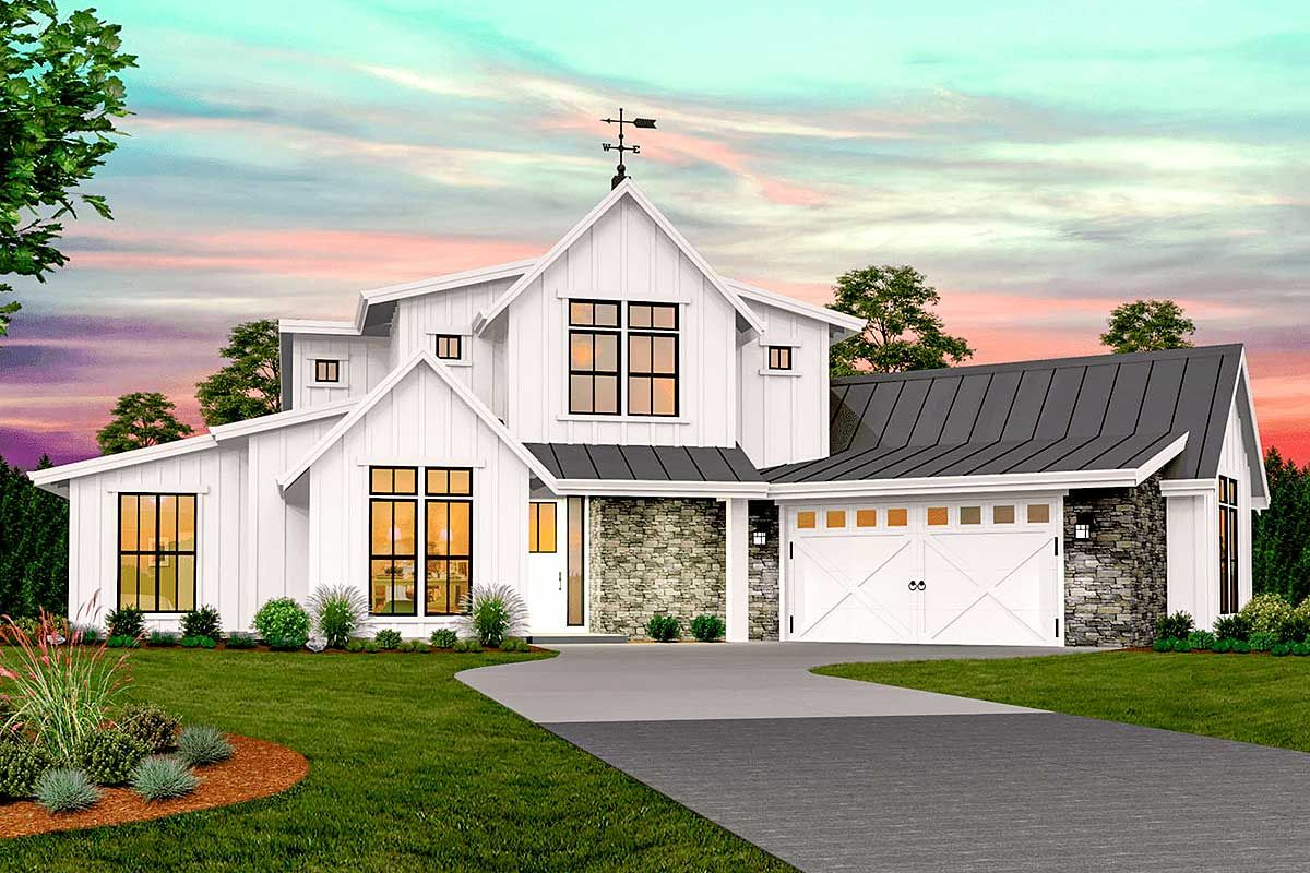 Plan 85265MS Modern Farmhouse with 2Story Foyer and