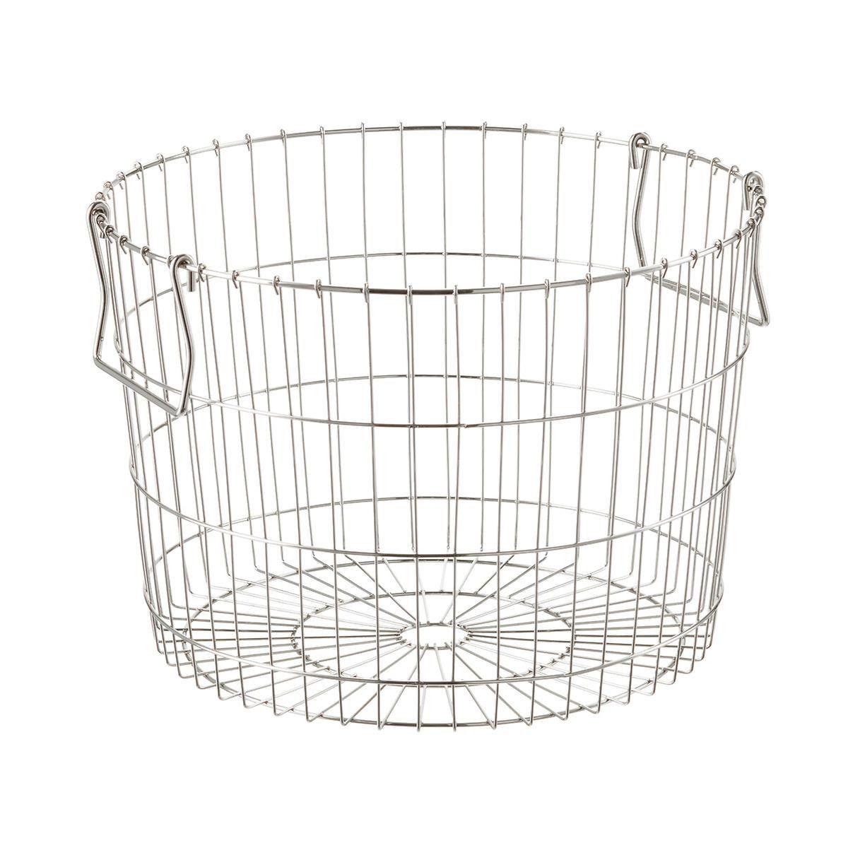 Round Silver Wire Storage Basket | Wire storage, Container store and ...
