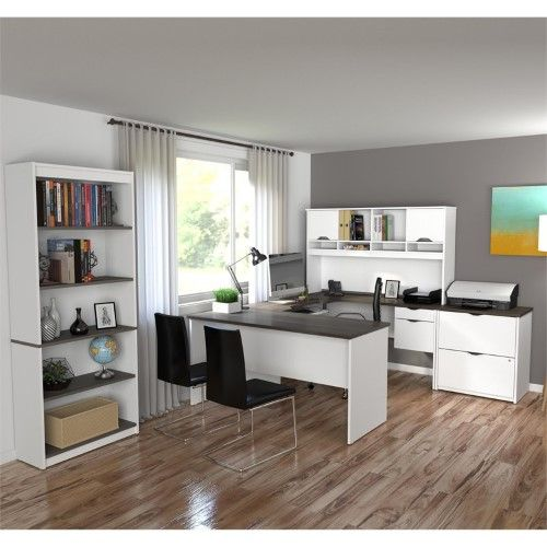 Atlin Designs 3 Piece Office Set In White And Antigua