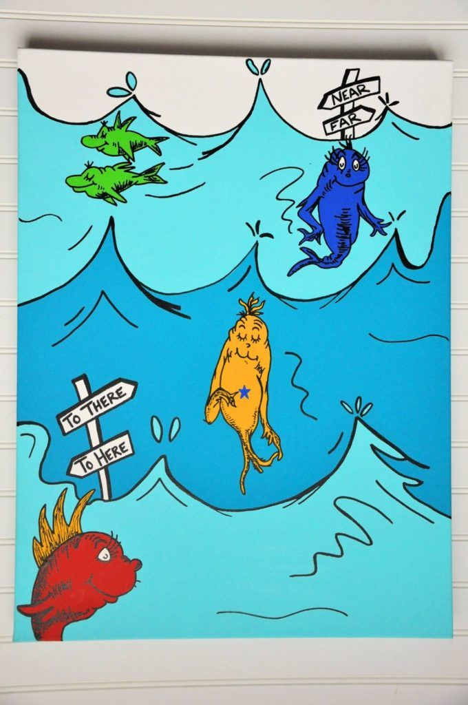 Dr Seuss One Fish Two Shower Curtain