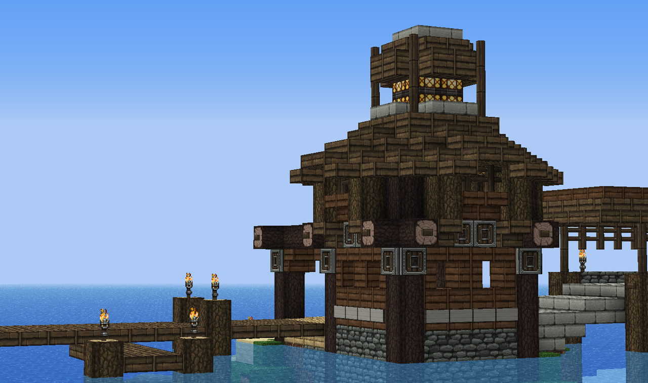 small lighthouse dock i made for my island home. Black Bedroom Furniture Sets. Home Design Ideas
