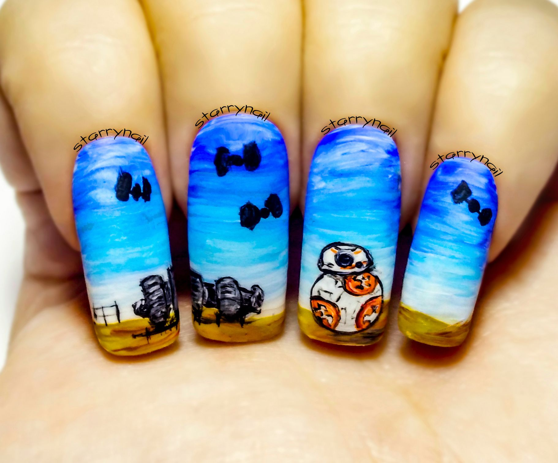 BB-8 ⎮ Star Wars - The Force Awakens ⎮ Freehand Nail Art Tutorial ...