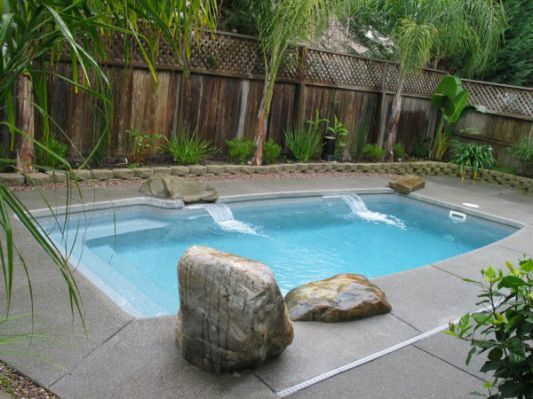 Similiar Small Fiberglass Inground Small Swimming Pools Small Inground Pool Backyard Pool Landscaping