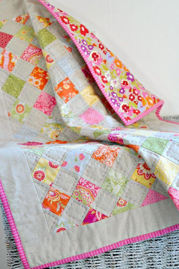Quilt  Baby Crib Quilt  Linen Pink Green Orange by DimpleStitch, £65.00