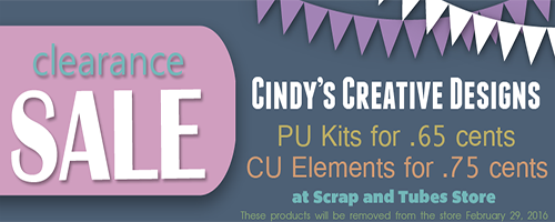 ► CINDY'S CREATIVE DESIGNS - BIG SALE ◄ I'm having a big retirement sale of some of my older kits and cu packs at Scrap n Tubes you can find all the items here at the store > http://www.scrapandtubes.com/shop/index.php?main_page=index&cPath=1455_1456